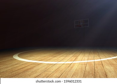 Basketball court with wooden floor and a basketball hoop over dark background