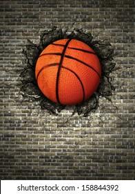 basketball embedded in a brick wall