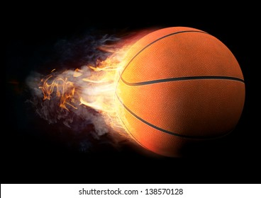 Basketball in Fire on black background