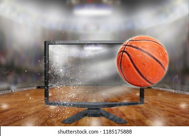 Basketball flying out of shattering TV screen in arena with copy space. Concept of realistic 3D or 4D TV, virtual reality VR or computer gaming.