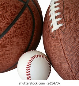 Basketball, Football and Baseball on White