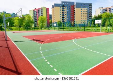 Basketball and football court