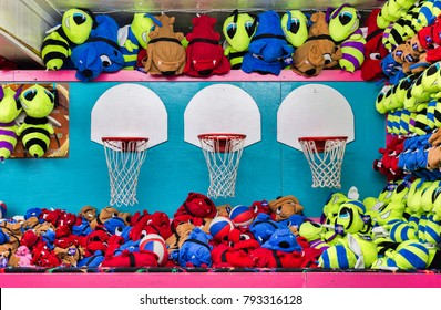 A basketball game of chance at the boardwalk with stuffed animal prizes
