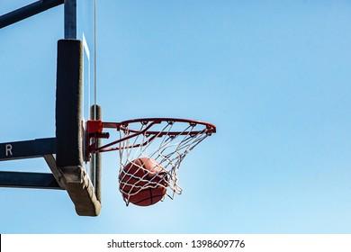 Basketball Going through Net Swoosh dunk score