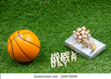 Basketball happy birthday with present on green