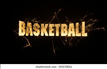Basketball headline title in sparks on dark background. Each one may seem similar but were created uniquely and have different spark patterns for variety purpose.