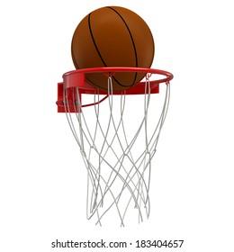 Basketball hoop basketball ball . isolated on white background. 3D image