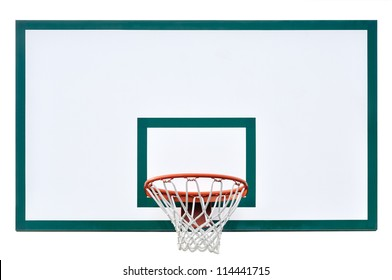 Basketball hoop cage, isolated large backboard closeup, new outdoor court set, green, red, orange, white back board blank copy space background