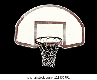 Basketball hoop isolated on black