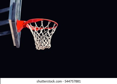 basketball hoop isolated on black clipping path