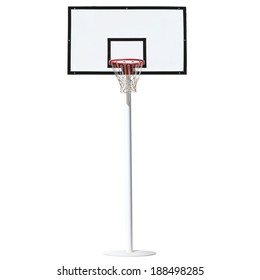 Basketball hoop isolated on a white background.