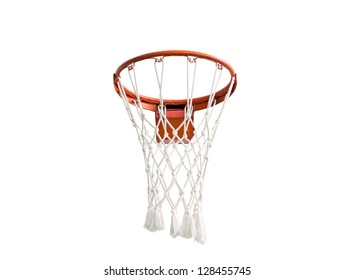 Basketball hoop with net isolated on white background