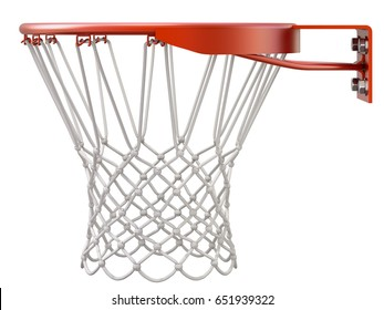Basketball hoop and net isolated on white background - 3D illustration