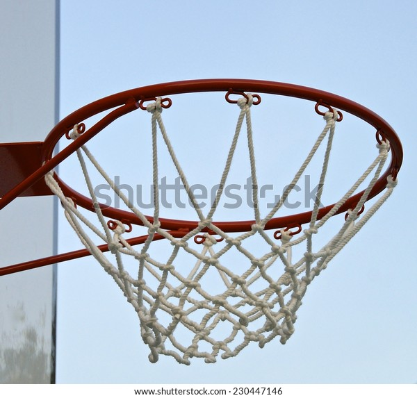 Basketball hoop with net  in the playground