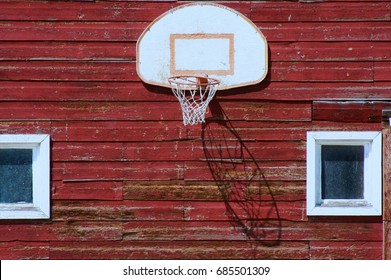 basketball hoop on the barn wall