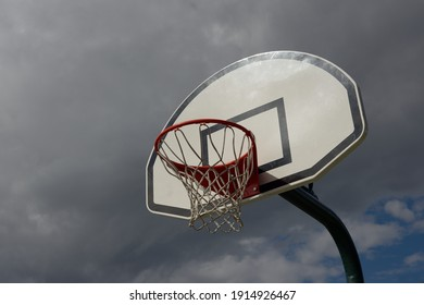 basketball hoop on cloudy sky background outdoor