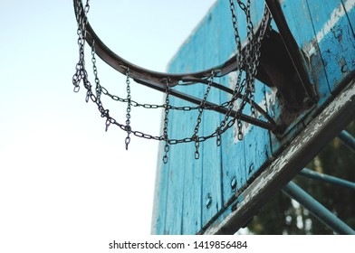 Basketball Hoop on the schoolyard in the Russian province