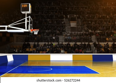Basketball hoop on supporters background in sports  arena