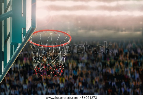 basketball hoop on supporters background in arena