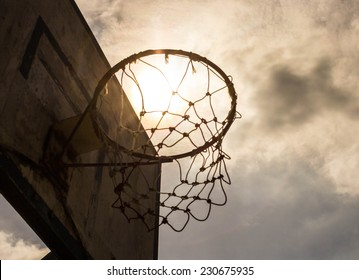 Basketball hoop in the public arena