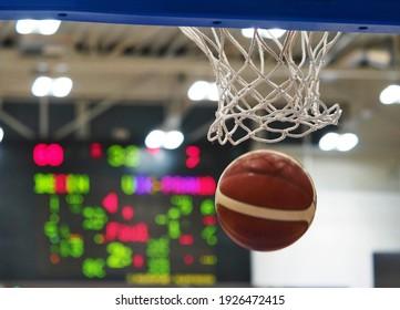 Basketball hoop with scoreboard. Mesh