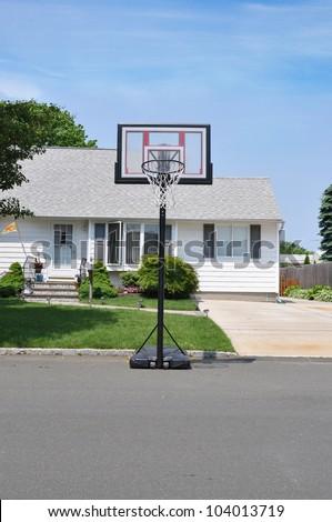 1ab0cc1845d Basketball Hoop Suburban Home Residential Neighborhood Stock Photo ...