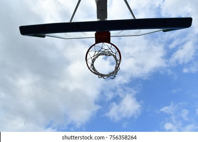 Basketball hoop under the cloudy sky