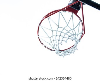 Basketball Hoop Underneath. a shot of a basketball hoop and rim from below on white