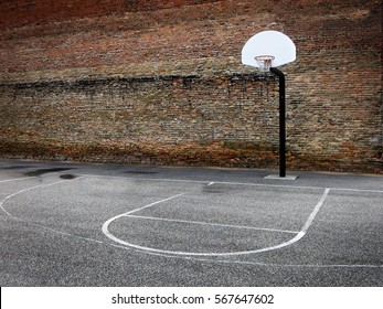 Basketball hoop in urban setting downtown city hood