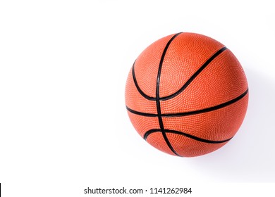 Basketball isolated on white background. Top view. Copyspace.