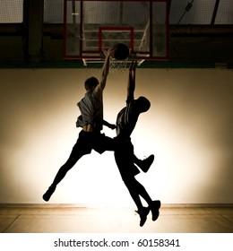 Basketball jump - black silhouette