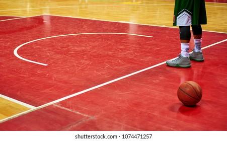 basketball lies on the floor