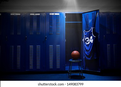 Basketball Locker Room with spotlight on the ball and locker