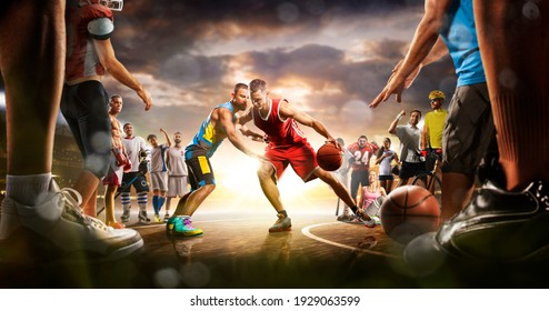 Basketball multi sports grand arena collage boxing basketball soccer football volleyball tennis fitness cycling baseball ice hockey