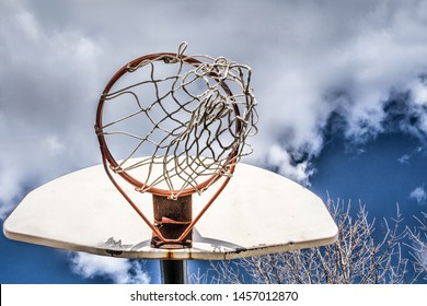 Basketball net blowing in the wind