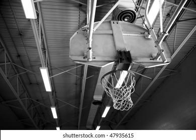 Basketball Net in School Gymnasium