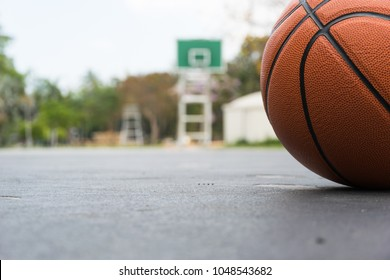 Basketball on basketball field on front view with copy space