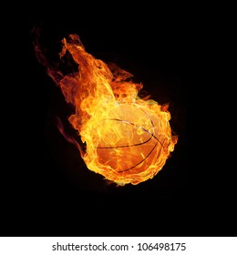 Basketball on fire or burning Basketball 3D on black