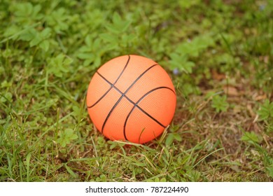 basketball on grass.Orange basketball ball isolated on the green grass.Sport concept. Copy space. Outdoor games