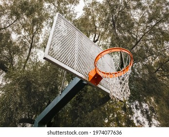 Basketball on the street. Urban style with green trees background. Healthy lifestyle. Basketball hoop