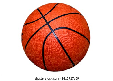 Basketball on white with space for text on the ball