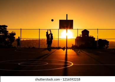 Basketball one on one when the sun goes down