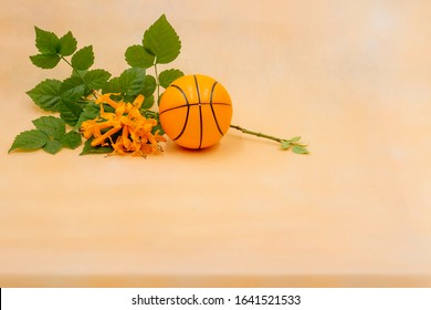 Basketball with orange flowers are on orange background