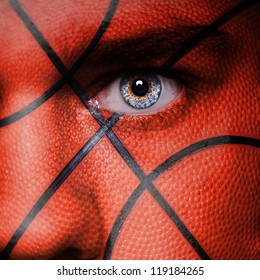 Basketball pattern on angry man face