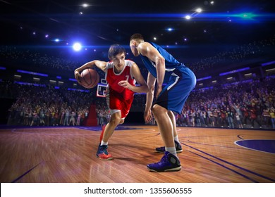 Basketball player  action. around Arena with blue light spot
