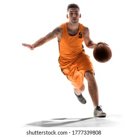 Basketball player in action with a ball isolated on white background. Dribbling