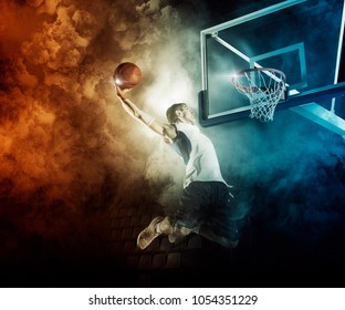 Basketball player in action in gym
