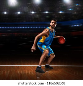 basketball player in action on basketball playground
