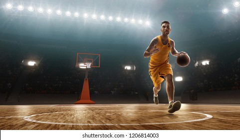 Basketball player dribbles