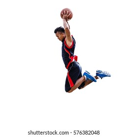 Basketball player isolated on white clipping path